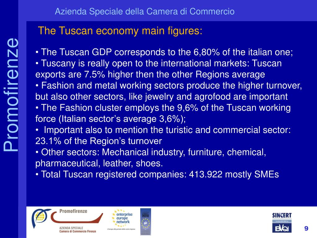 The Tuscan economy main figures: