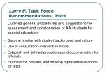 larry p task force recommendations 1989