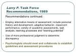 larry p task force recommendations 19897