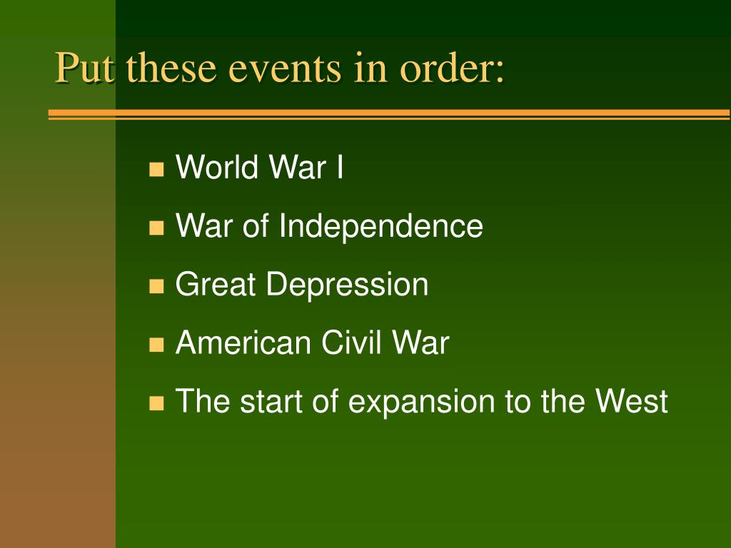 Put these events in order: