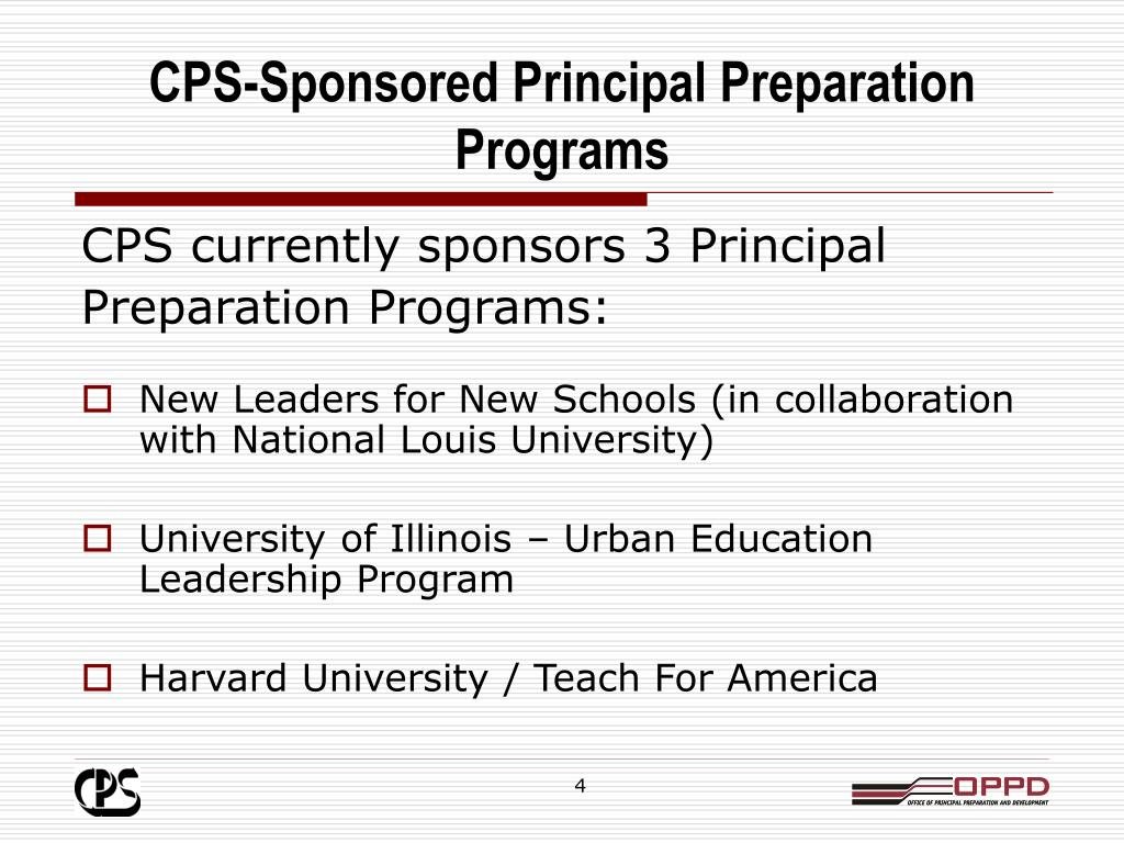 CPS-Sponsored Principal Preparation Programs