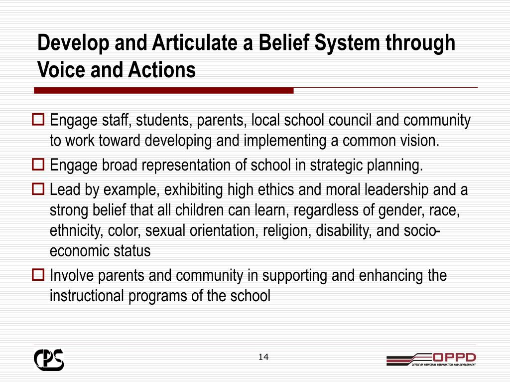 Develop and Articulate a Belief System through Voice and Actions