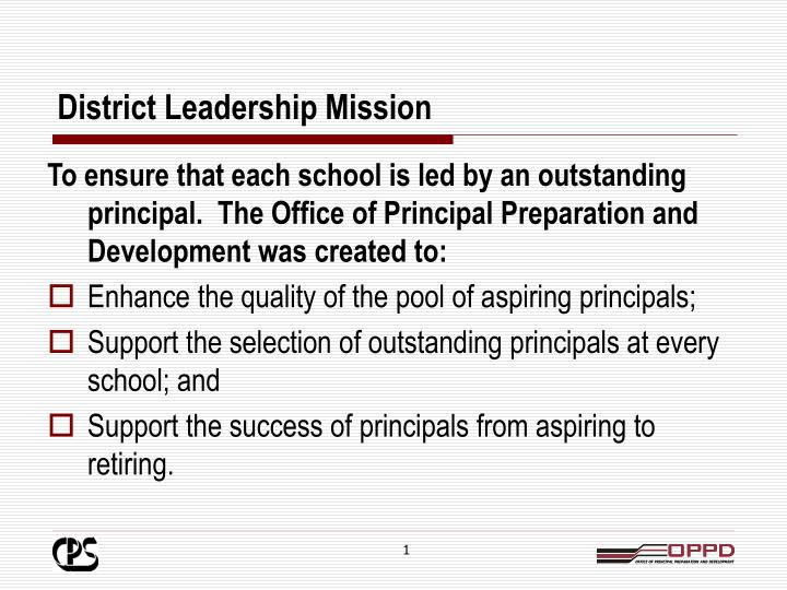 District leadership mission