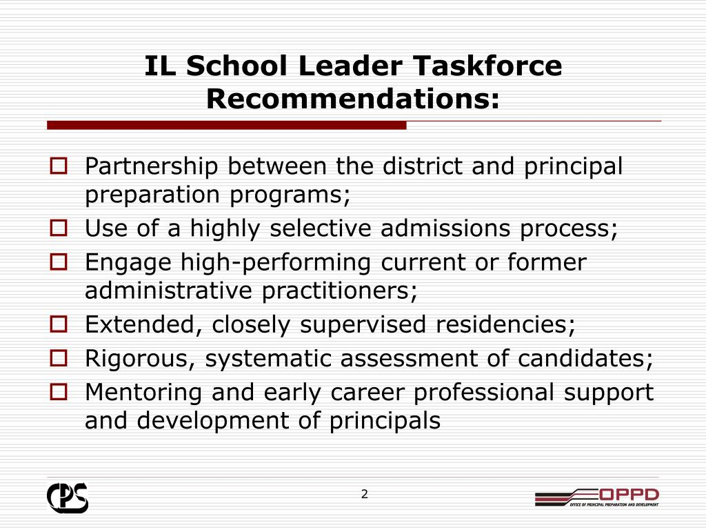 IL School Leader Taskforce Recommendations: