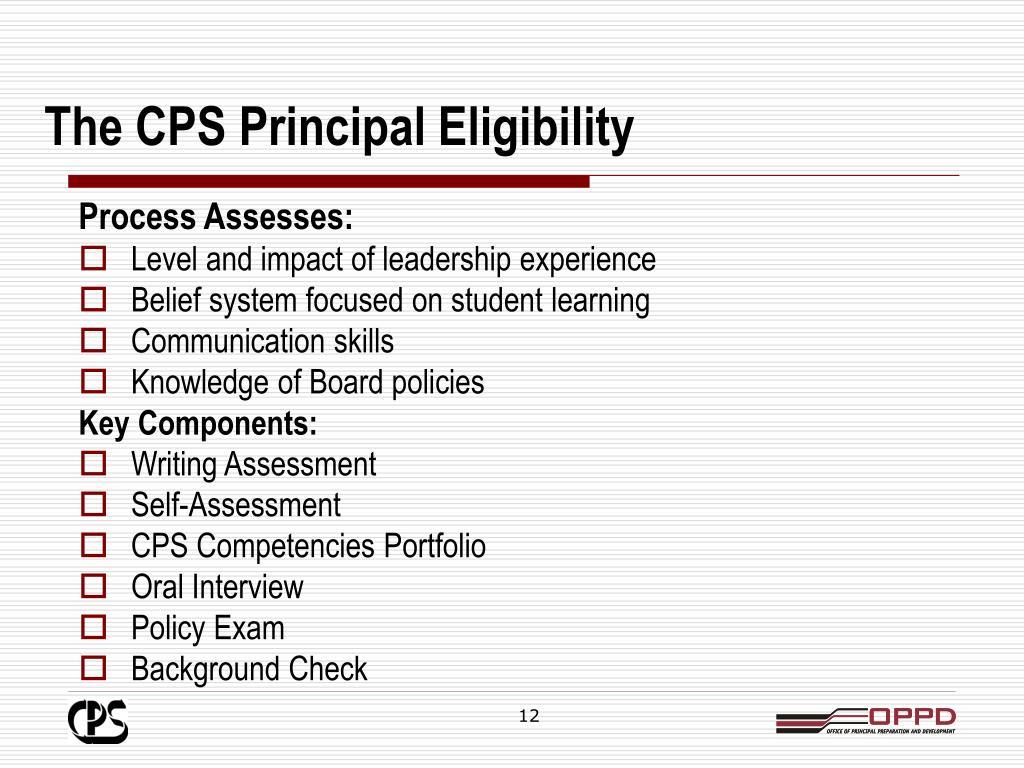 The CPS Principal Eligibility