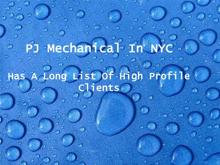 PJ Mechanical In NYC