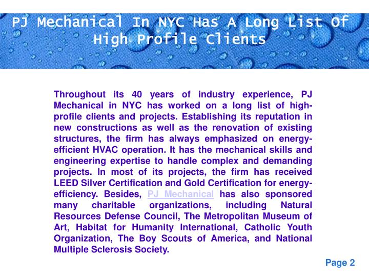 PJ Mechanical In NYC Has A Long List Of High Profile Clients