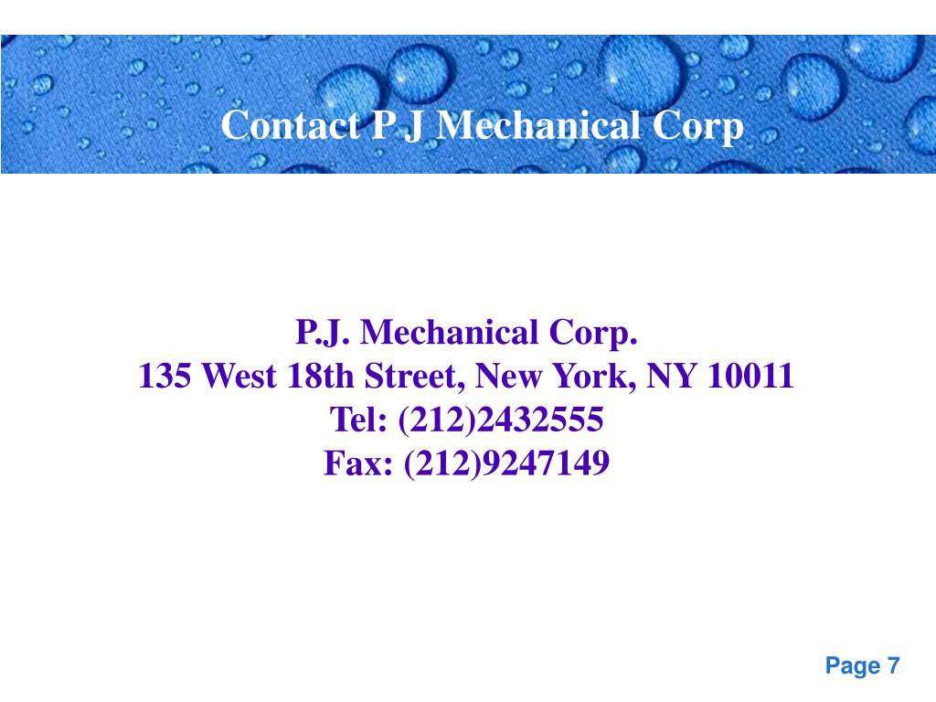 Contact P J Mechanical Corp