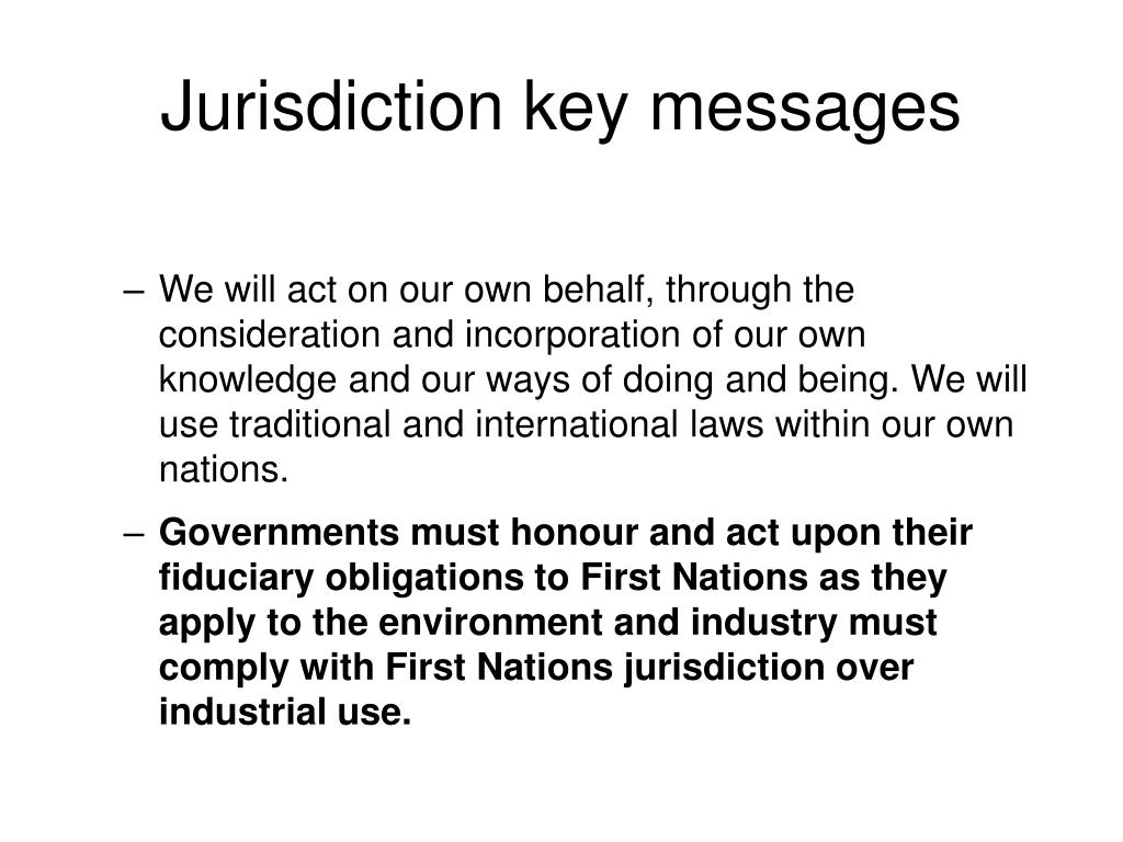 Jurisdiction key messages