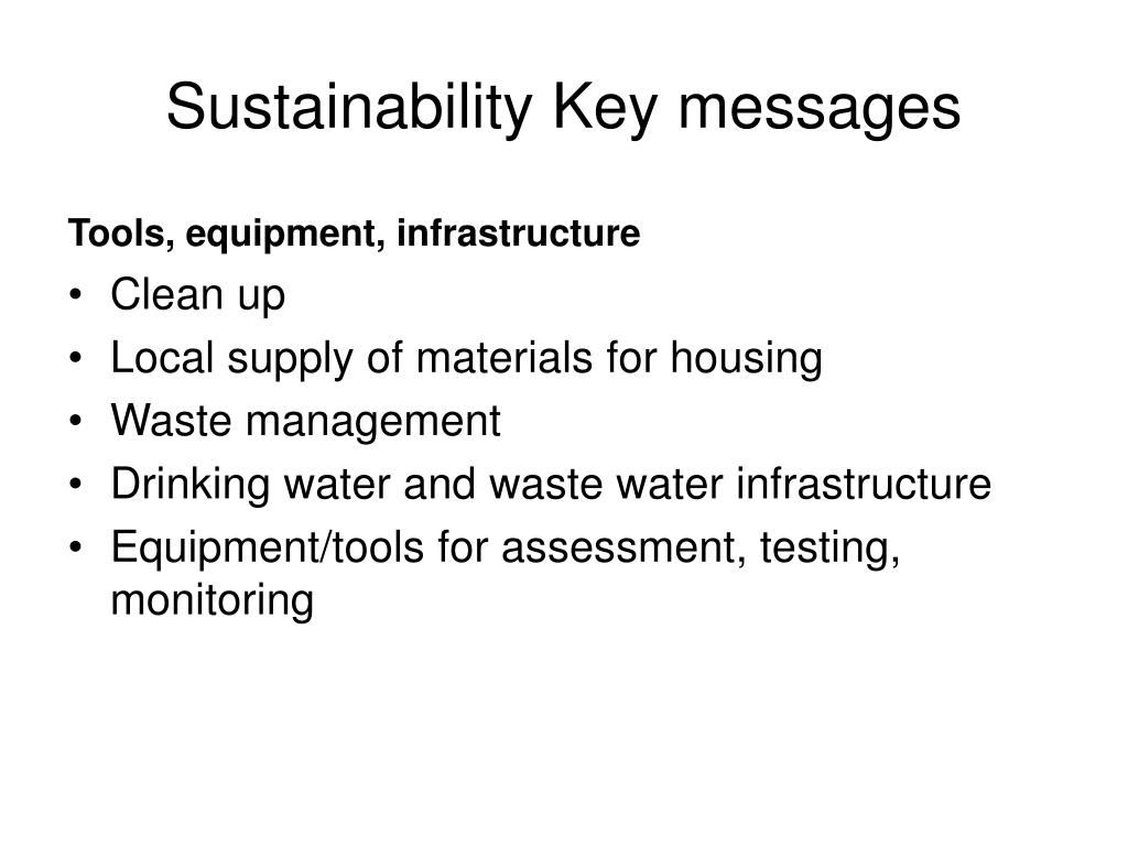 Sustainability Key messages