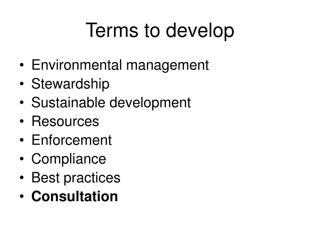 Terms to develop