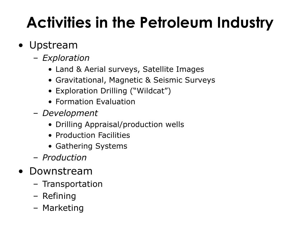 Activities in the Petroleum Industry