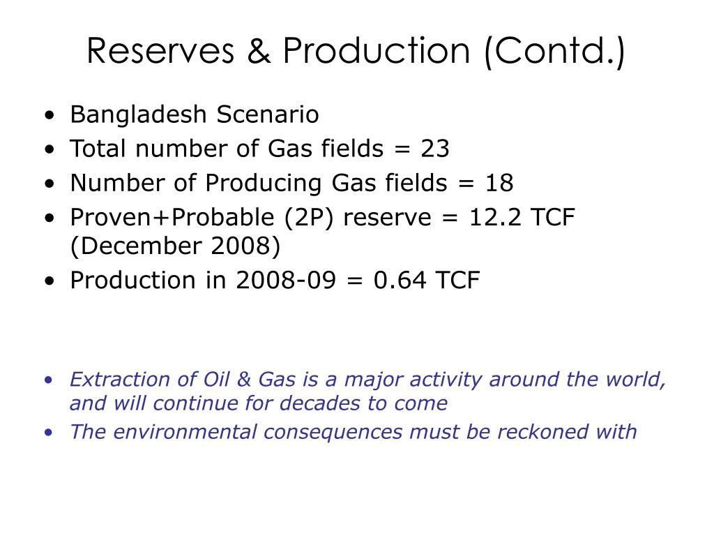 Reserves & Production (Contd.)