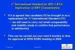 1 st international standard for hiv 1 rna implications of hbv contamination1