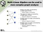 multi linear algebra can be used in more complex graph analyses