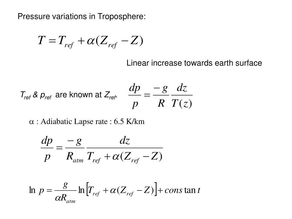 Pressure variations in Troposphere:
