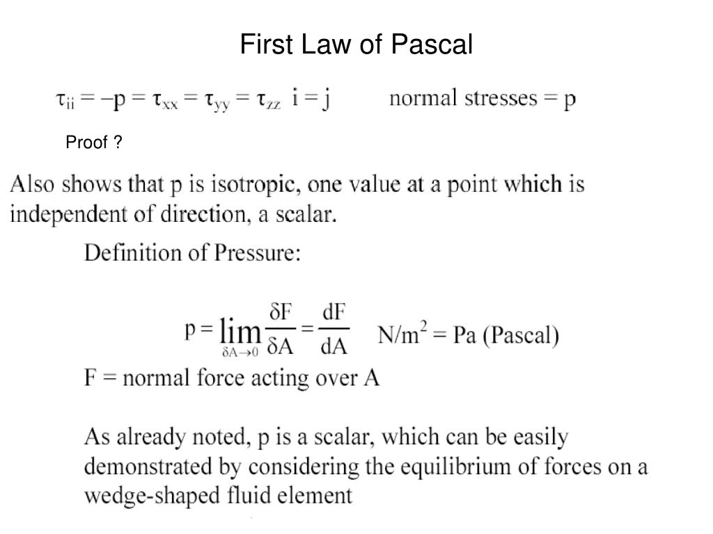 First Law of Pascal