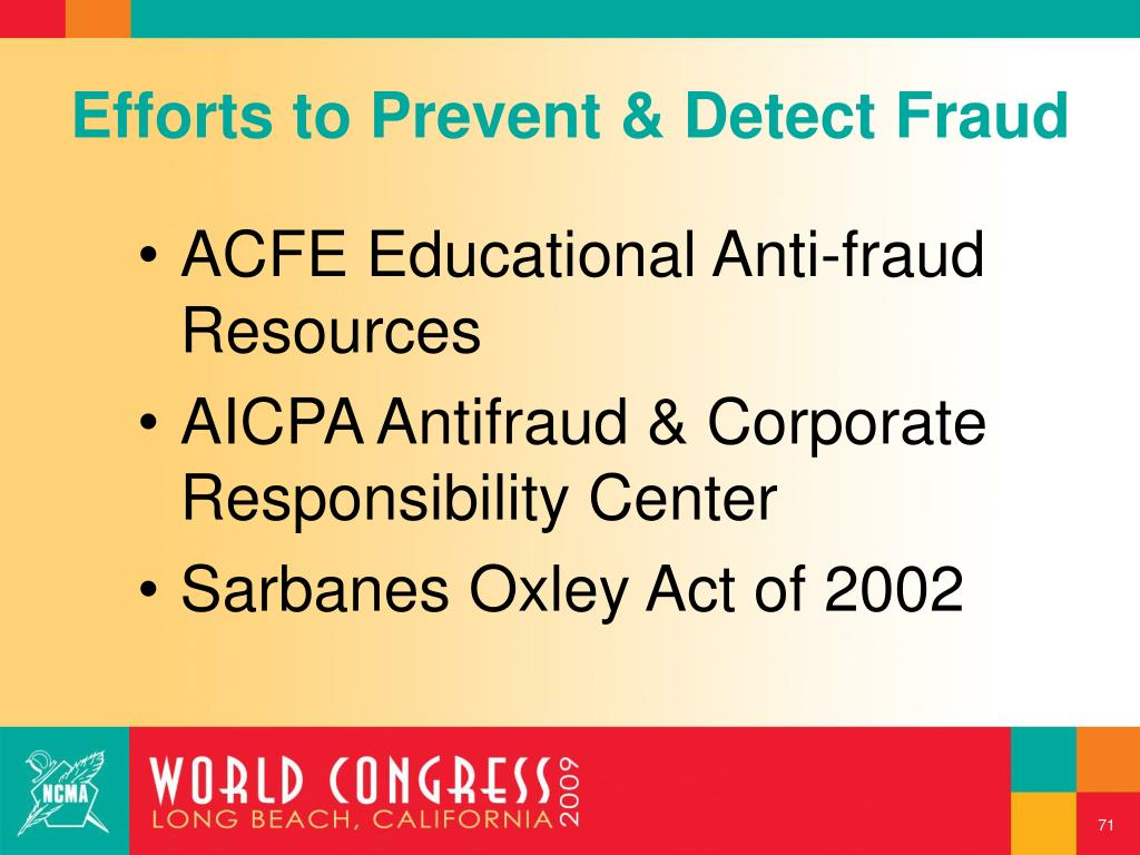 Efforts to Prevent & Detect Fraud