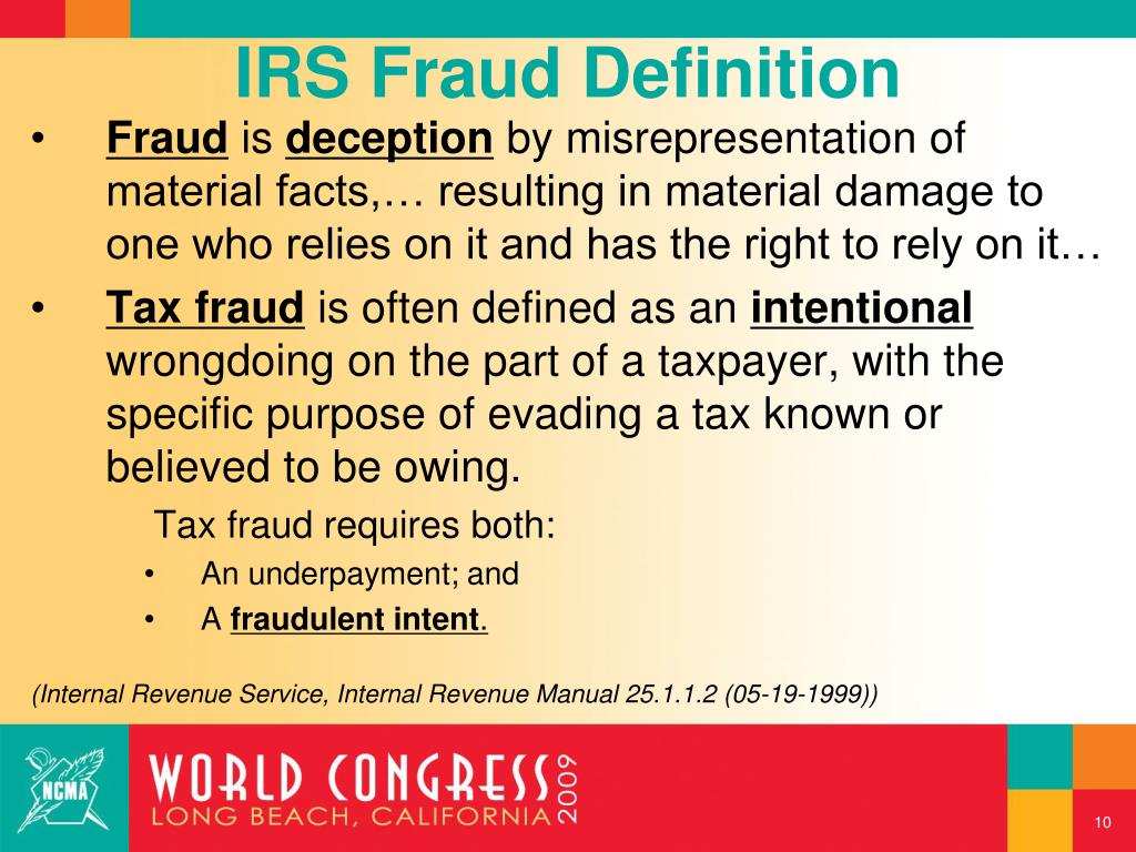 IRS Fraud Definition