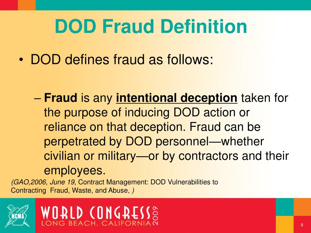 DOD Fraud Definition
