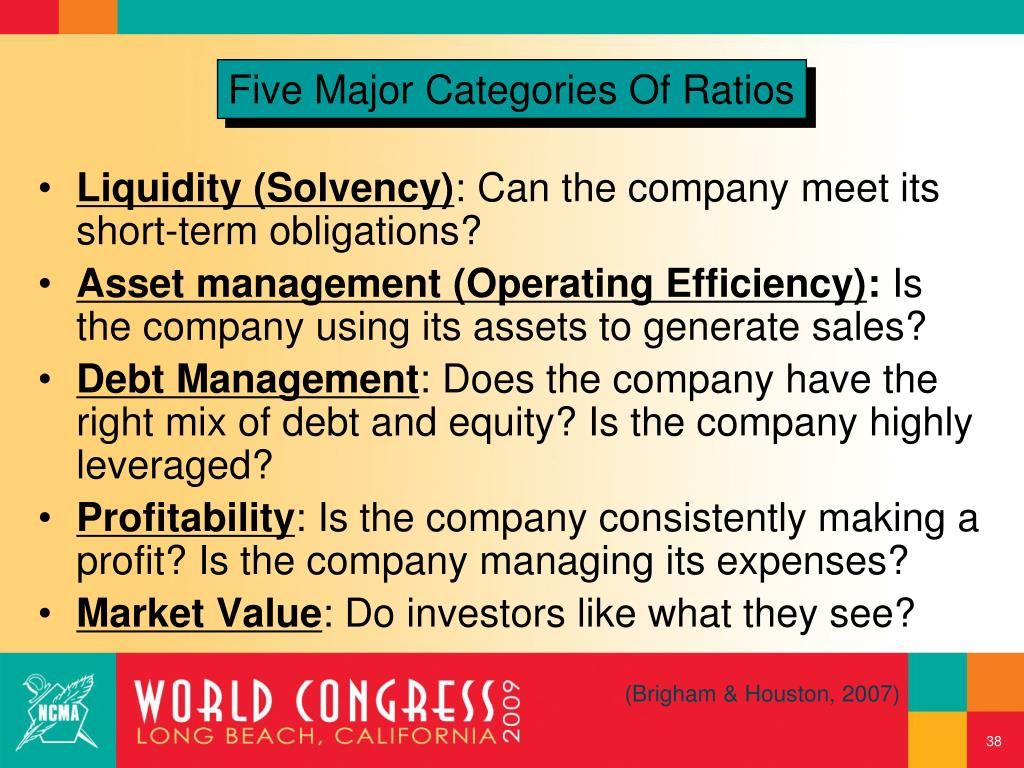 Five Major Categories Of Ratios