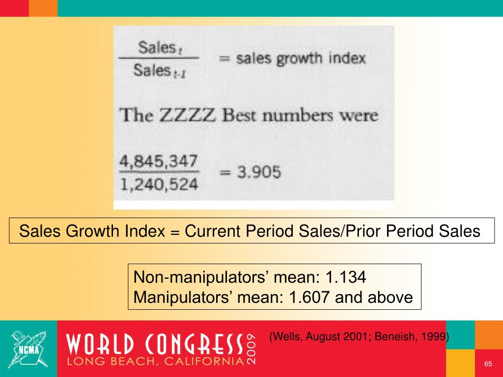 Sales Growth Index = Current Period Sales/Prior Period Sales