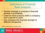 usefulness of financial ratio analysis