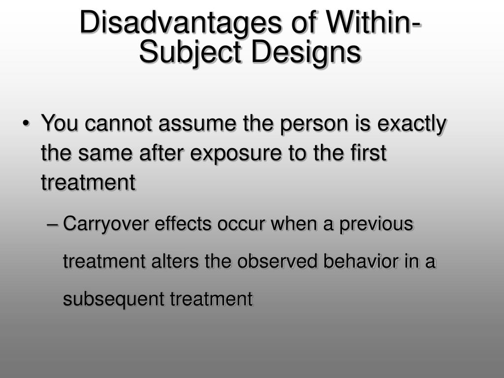 Disadvantages of Within-Subject Designs