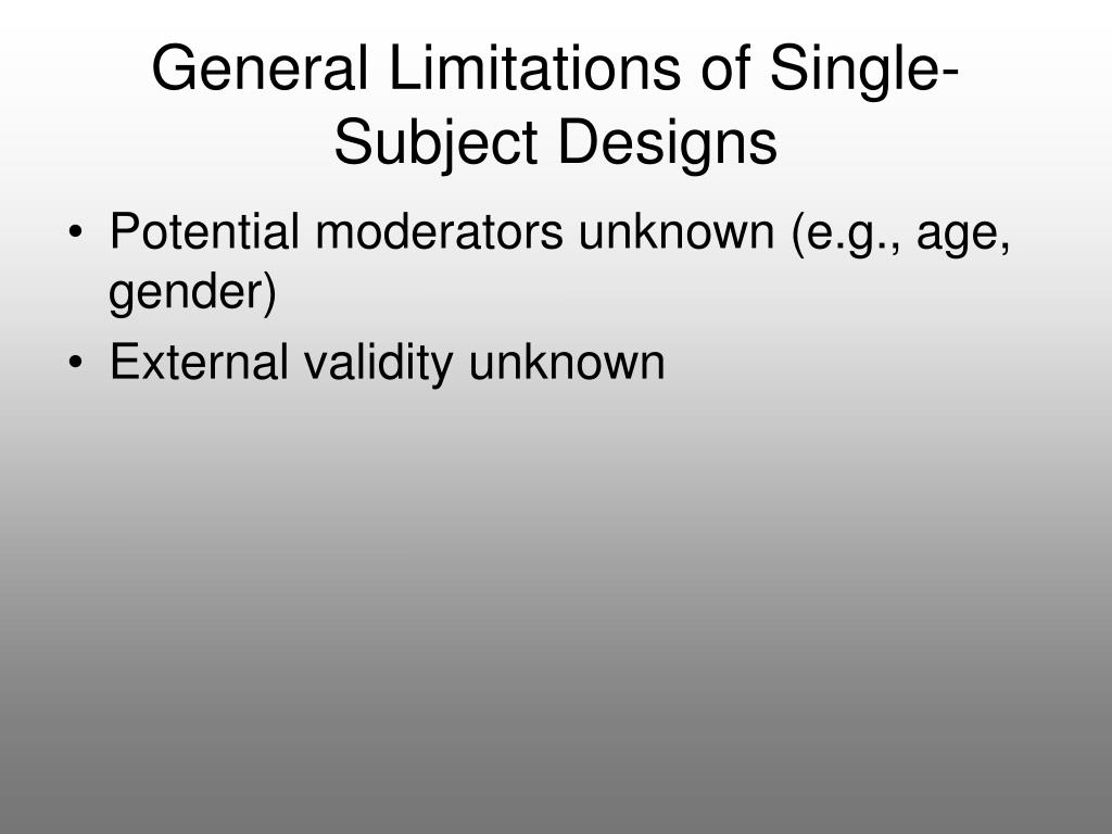 General Limitations of Single-Subject Designs