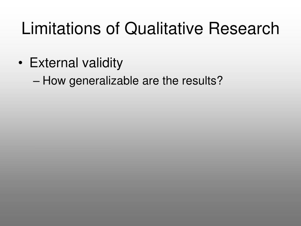 Limitations of Qualitative Research