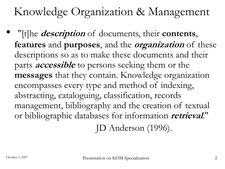 Knowledge organization management