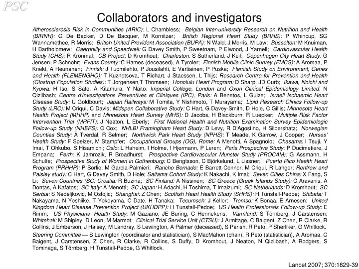 Collaborators and investigators