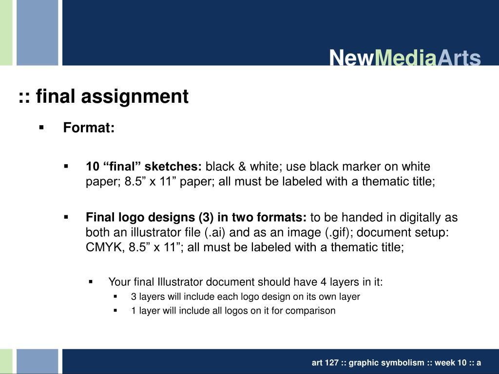:: final assignment