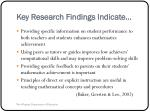 key research findings indicate11