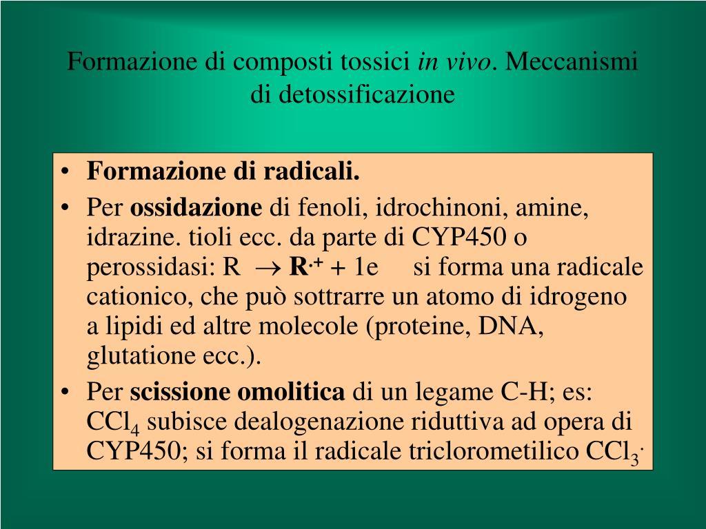 Formazione di composti tossici