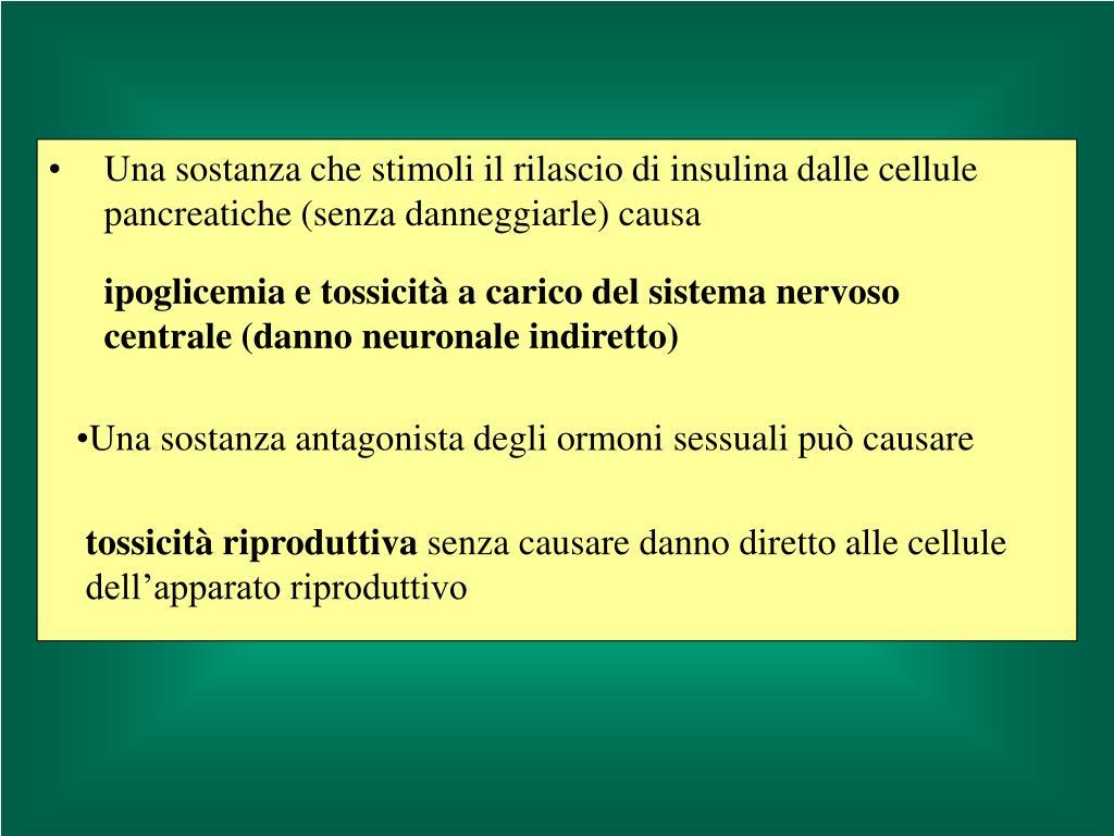Una sostanza che stimoli il rilascio di insulina dalle cellule pancreatiche (senza danneggiarle) causa