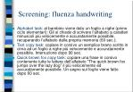 screening fluenza handwriting