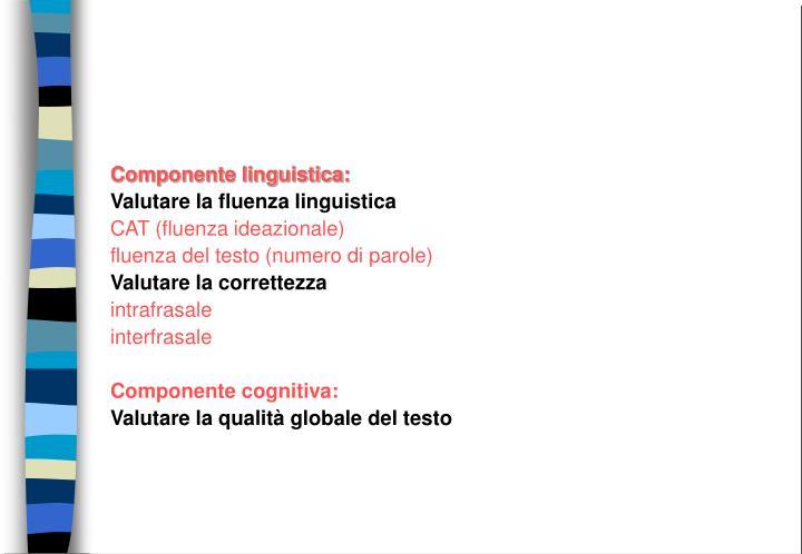 Componente linguistica: