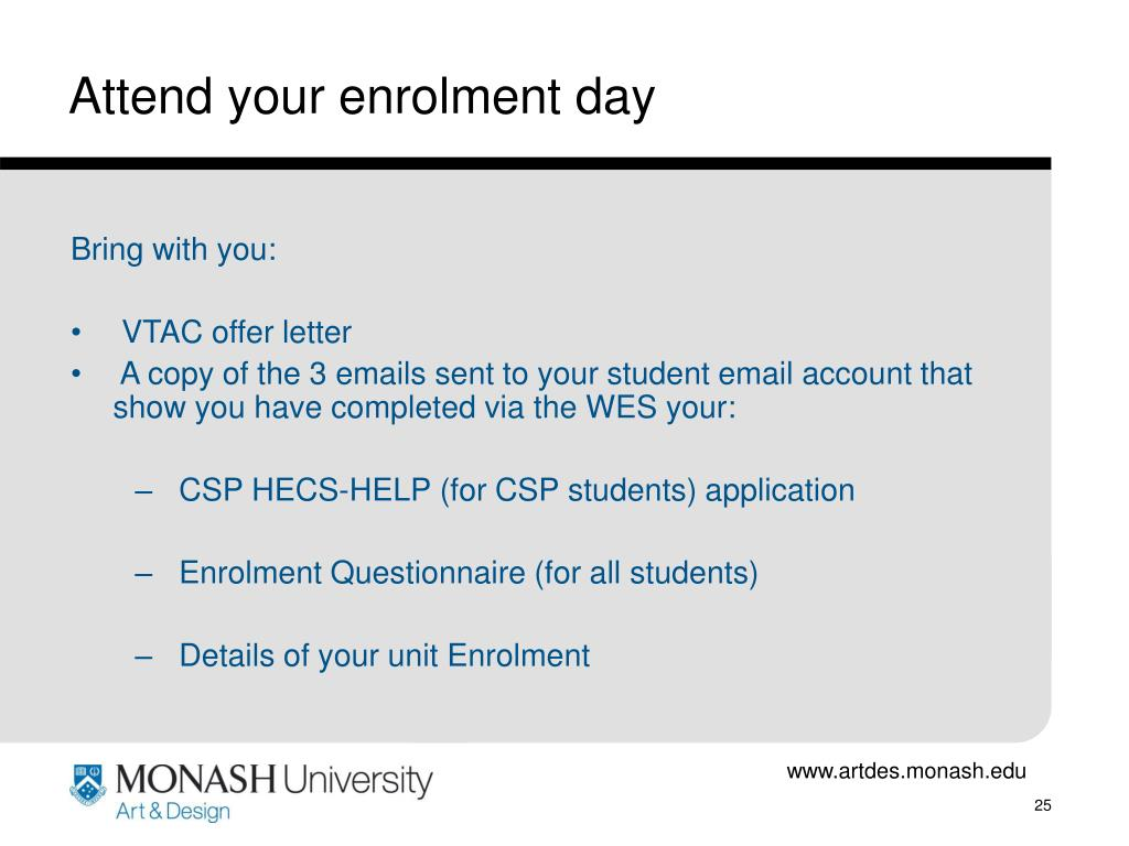 Attend your enrolment day