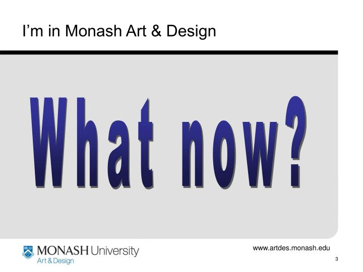 I m in monash art design