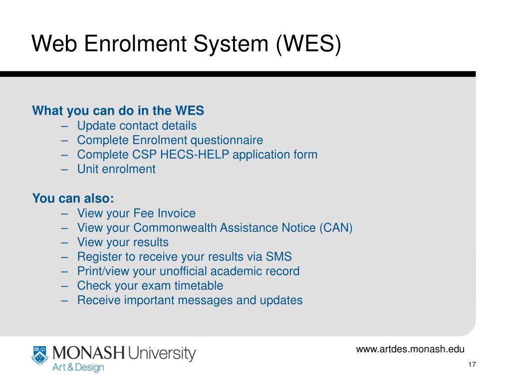 Web Enrolment System (WES)