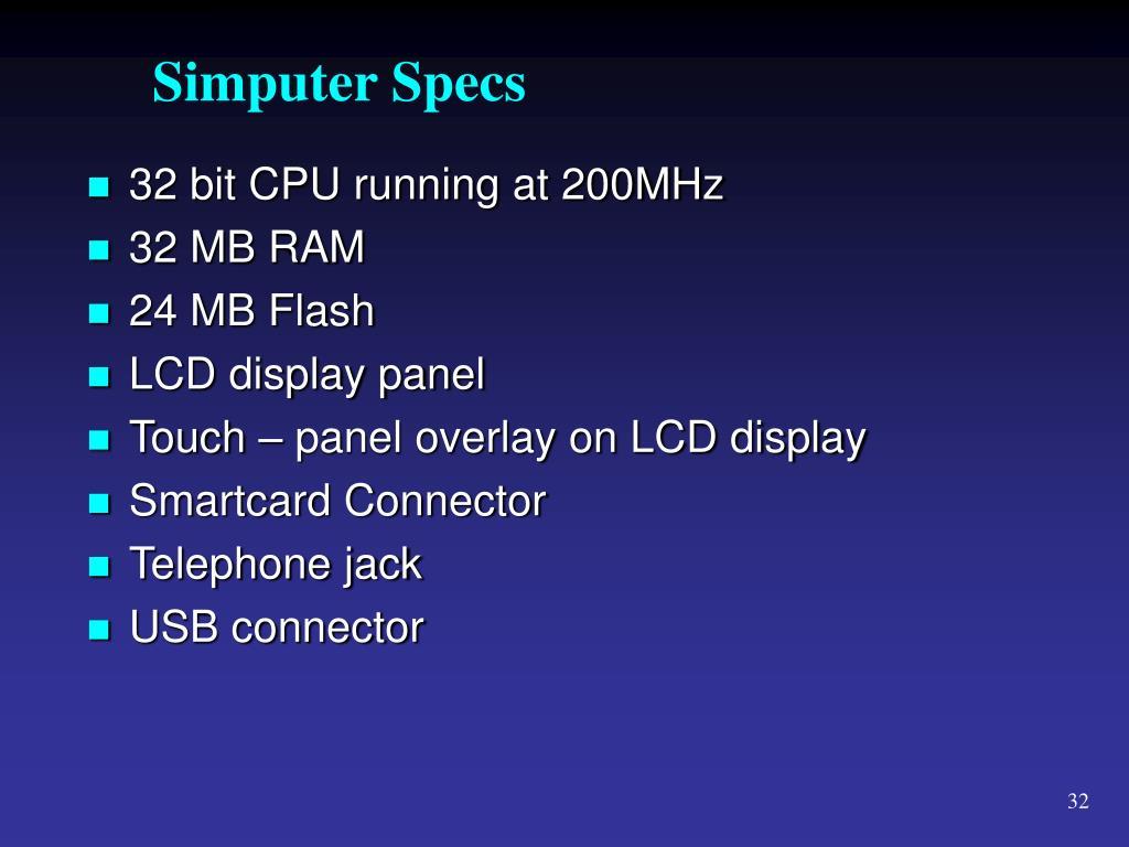 Simputer Specs