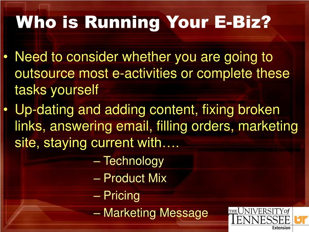 Who is Running Your E-Biz?