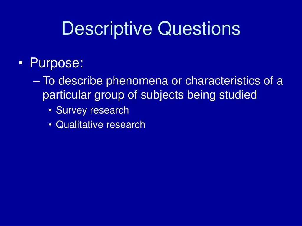 Descriptive Questions