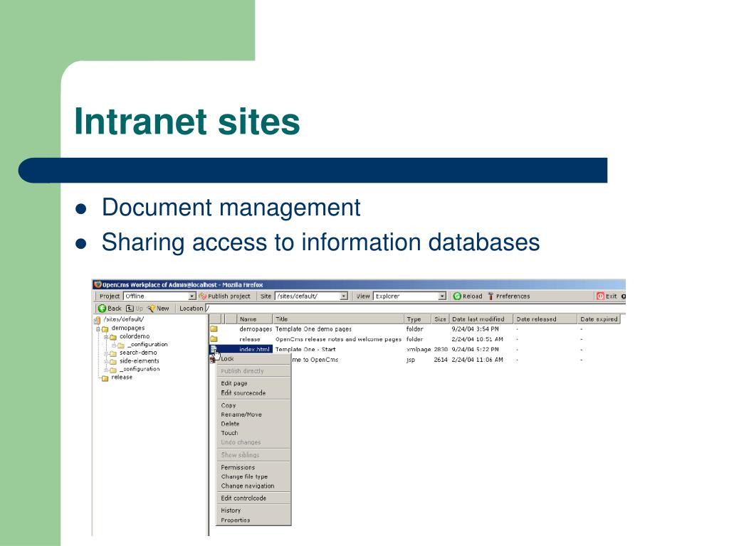 Intranet sites