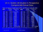 ch 4 verdict all studies in perspective compare with actual data