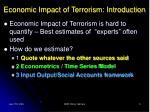 economic impact of terrorism introduction