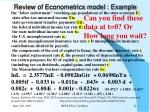 review of econometrics model example