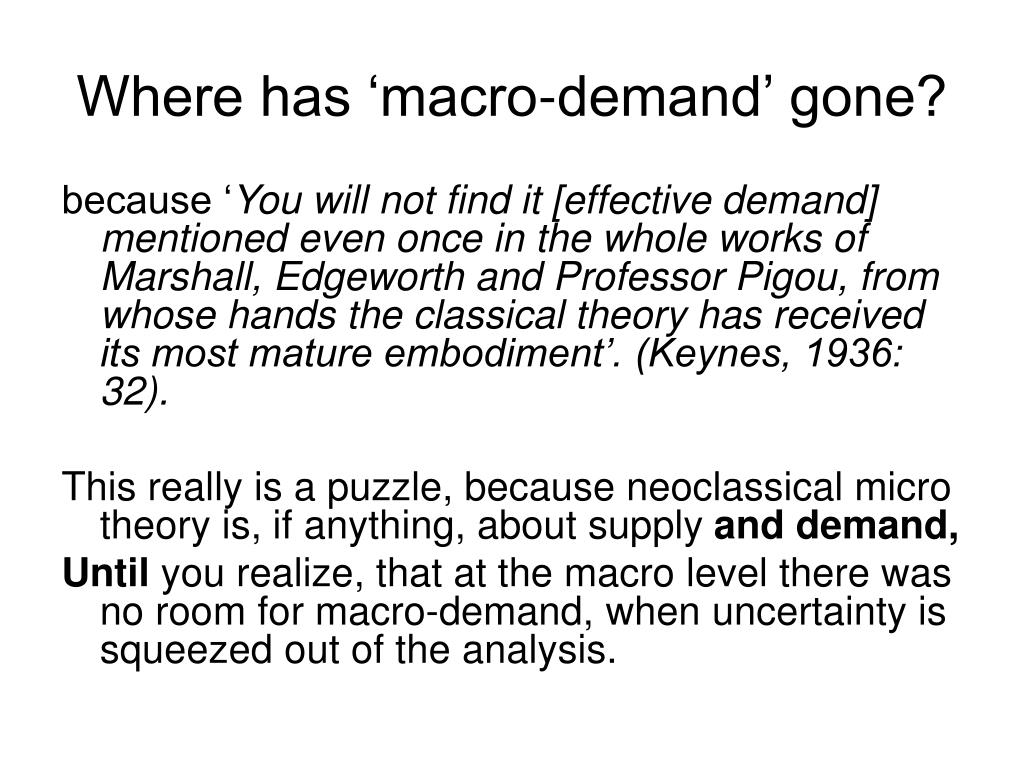 Where has 'macro-demand' gone?