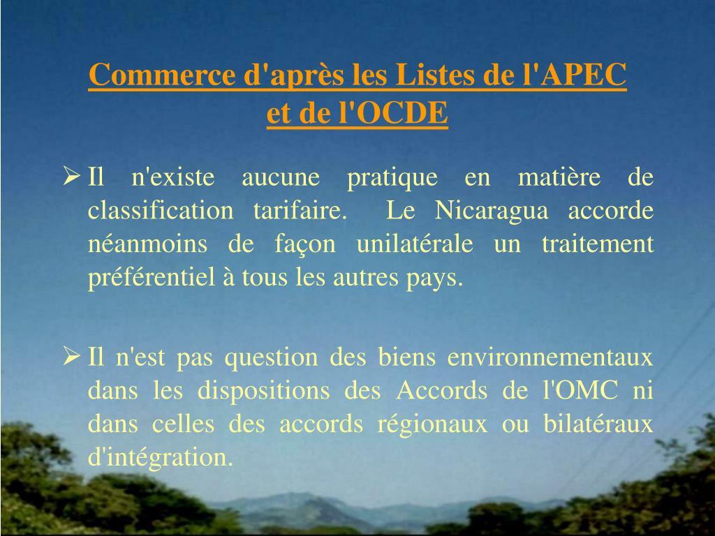 Commerce d'après les Listes de l'APEC
